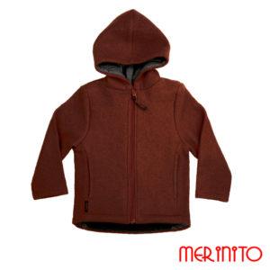 Jachetă copii lână organică boiled wool Merinito Pluș – Chocolate