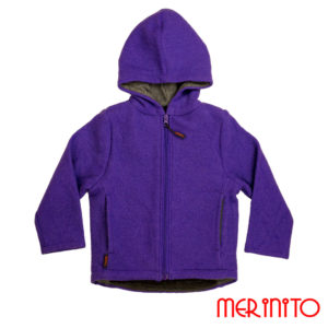 Jachetă copii lână organică boiled wool Merinito Pluș – Indigo