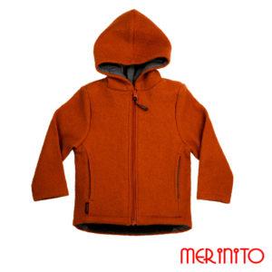 Jachetă copii lână organică boiled wool Merinito Pluș – Terracota