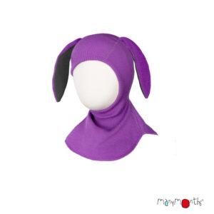 Cagulă ManyMonths Bunny Ears lână merinos - Lavender Crystal