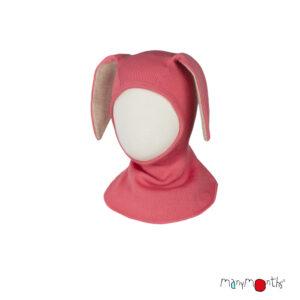 Cagulă ManyMonths Bunny Ears lână merinos - Peach Bud
