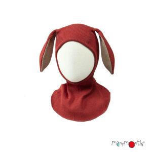 Cagulă ManyMonths Bunny Ears lână merinos - Rooibos Red