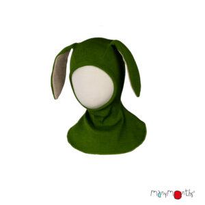 Cagulă ManyMonths Bunny Ears lână merinos - Garden Moss Green