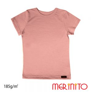 Tricou copii Merinito lână merinos - Dusty Pink